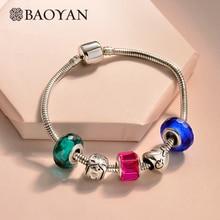 BAOYAN Friendship Bohemian Crystal Bead Bracelet Women Cute DIY Girl Heart Charm Bracelets Stainless Steel Snake Chain
