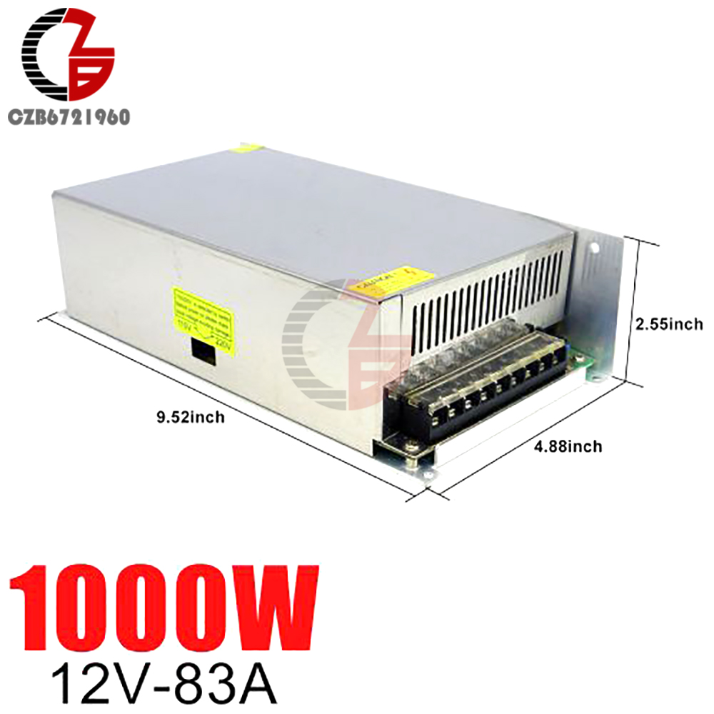 12V Switching Power Supply 83A 1000W AC to DC LED Strip Power Source Adapter Transformer LED Power Supply Voltage Regulator image