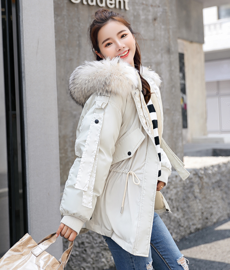 Korean Style 2019 Winter Jacket Women Cotton Padded Hooded With Fur Fe_B2_13