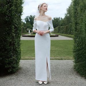 Image 2 - tailor shop custom made light wedding dress pure silk wool fabric off shoulder simple silk wedding dress white silk wedding gown