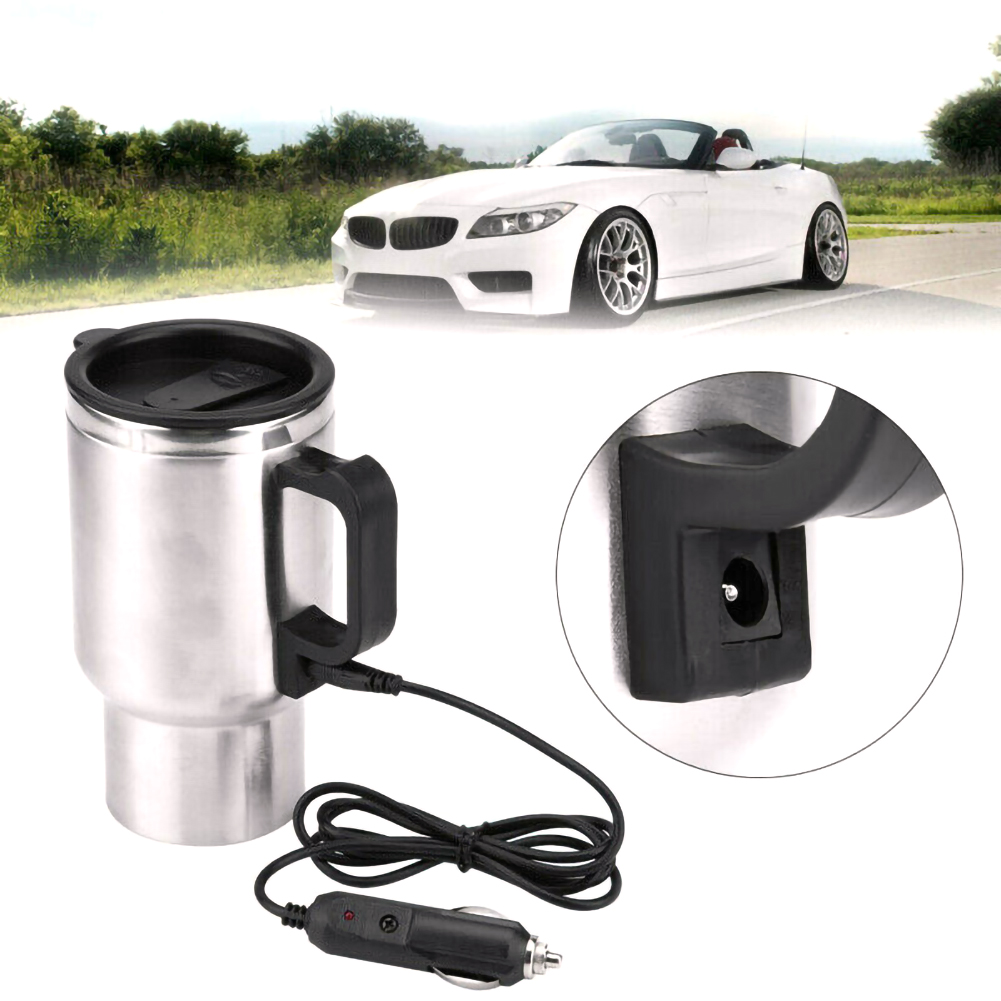 12V 500ml Electric In-car Stainless Steel Travel Heating Cup Car Cup Mug Universal For Most Car Cup Holders Auto Accessories