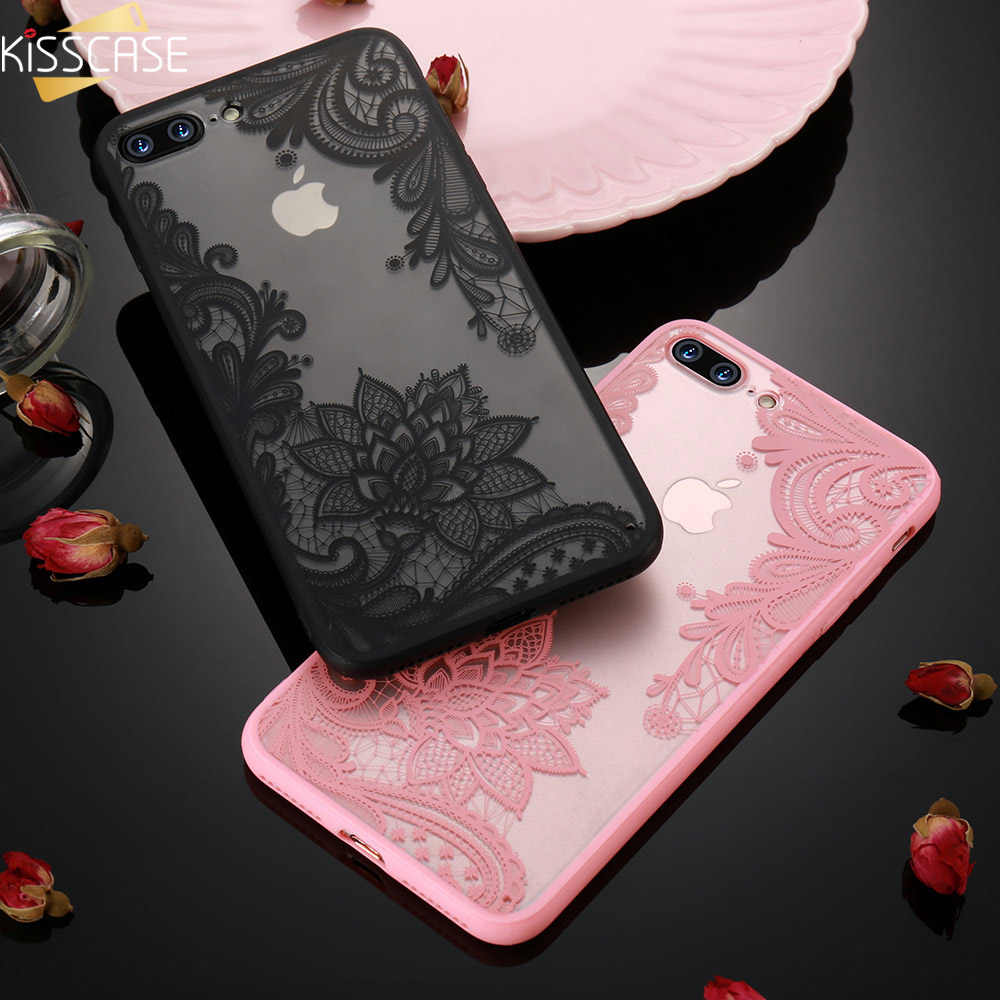 KISSCASE Kant Bloem Case Voor iPhone 8 Plus 8 7 Vintage Bloemen Case Voor iPhone 7 6S 6 Plus 5S 5 XS Max XR X 10 11 Pro Max Funda