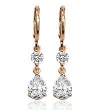 Женские классические серьги подвески с кристаллами розовое золото