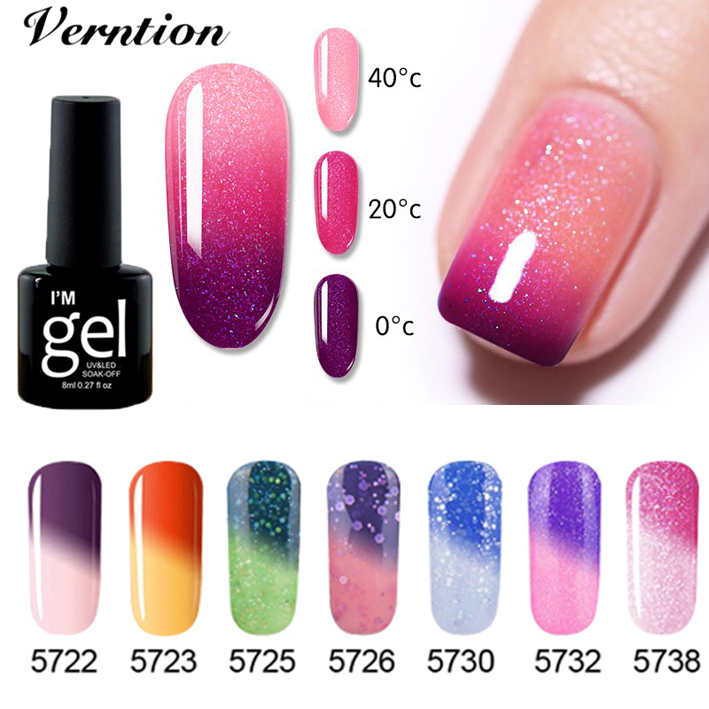 Verntion Thermal Nail Polish Peel Off Temperature Color Changing Nagel Gellak Lacquer Glittery Colorful Nail Art Varnish Nail