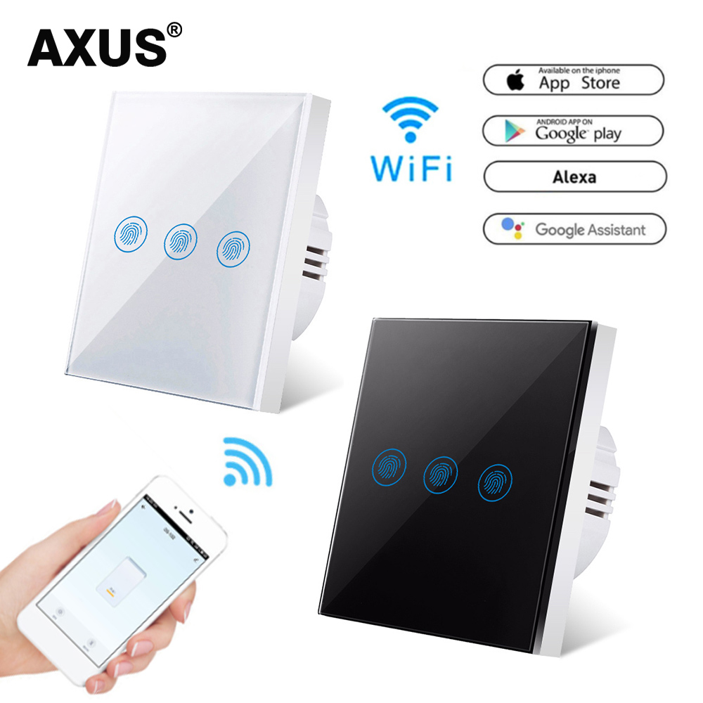 AXUS Wall Touch Switch EU Standard 3 Gang 1 Way Ewelink Smart Support Alexa Google Home Assistant IFTTT For Android AC110-220V