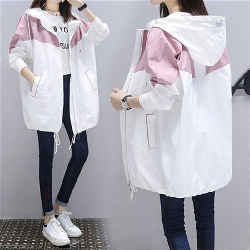Meidum длинный весенне осенний Тренч, новинка 2020, модная женская повседневная куртка с капюшоном в стиле пэчворк, большие размеры, Корейская ветровка, верхняя одежда|Плащи и тренчи|   | АлиЭкспресс