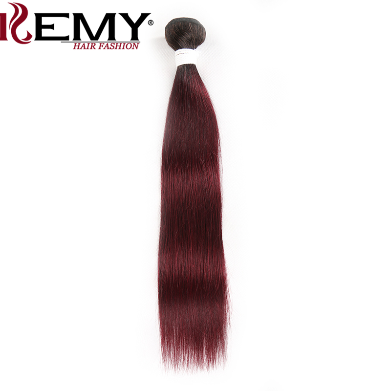 1B 99J/Burgundy Brazilian Straight Human Hair Weave Bundles Ombre Red Hair Bundles Non-Remy Hair Extension 1 Piece KEMY HAIR