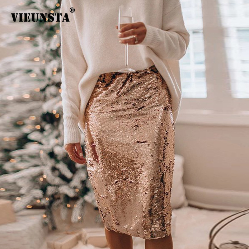 Sexy Glitter Shiny Sequin Skirts Womens Stretchy Knee Length Skirt 2020 Spring Summer Solid Club Night Party Wear Women Skirt XL