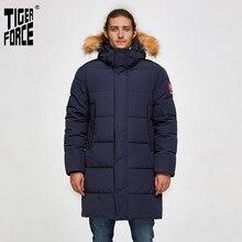 타이거 포스 남성 파카 겨울 자켓 남성 긴 알래스카 자켓 코트 너구리 모피 후드 겨울 남성 자켓 두꺼운 방수 아웃웨어