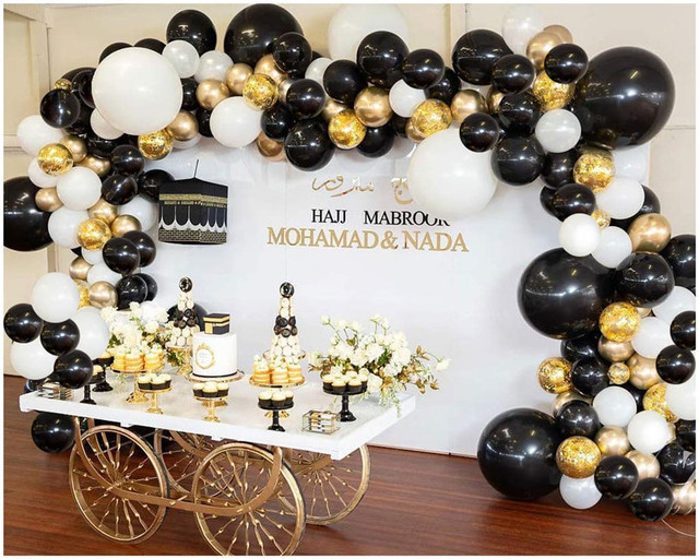 Guirnalda de globos de látex blanco y negro para fiesta de boda decoración de fondo, arco, Chico, metal, dorado, suministros de baño para bebé, 101 Uds.