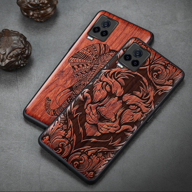 Carveit Wooden Cases For VIVO iQOO 7 Real Wood Covers TPU Silicone Shell 3D Carved Thin Accessories Protective Luxury Phone Hull