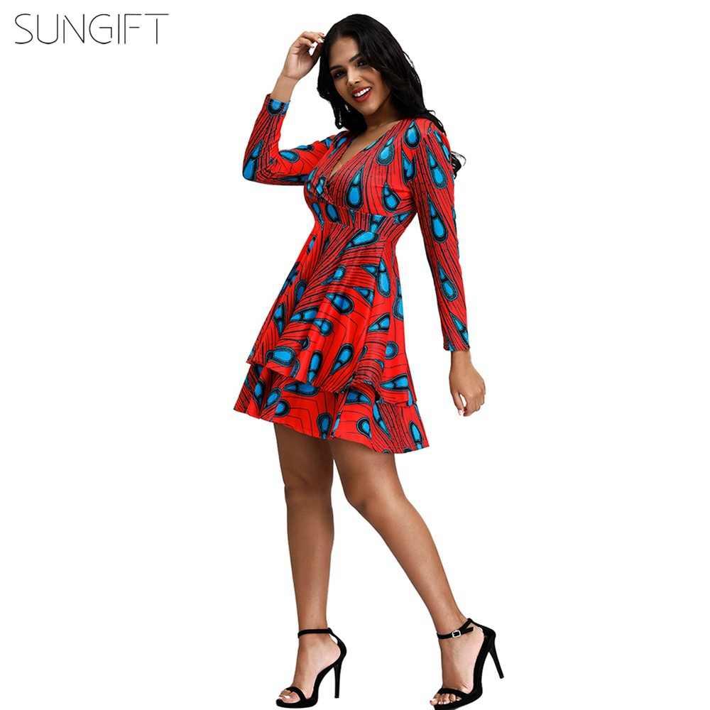 SUNGIFT Afrikaanse Stijlvolle Jurk Voor Vrouwen Dashiki Veer Geometrische Print Lange Mouwen V-hals 2019 Herfst Sexy Jurken Midi Rok