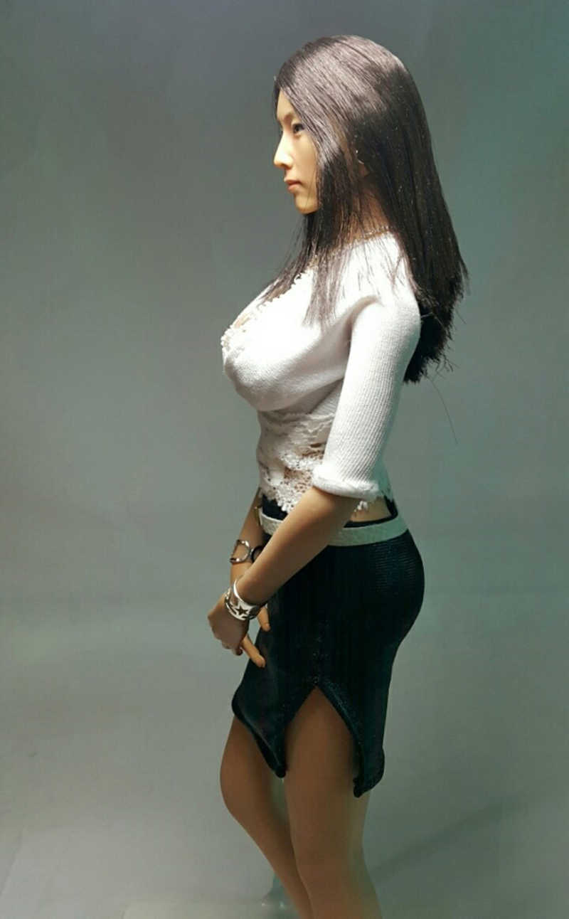"""1//6 Female L Bust Breast Action Figure Body Rubber for 12/"""" Hot Toys KUMIK Head"""
