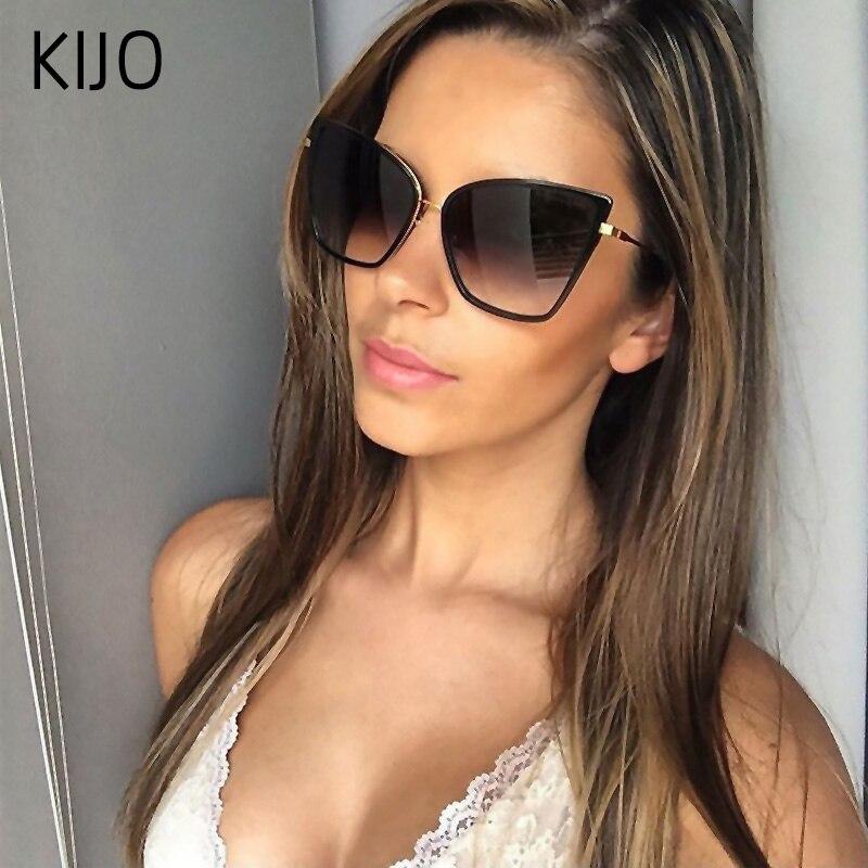 2019 nowy marka projektant Cateye okulary kobiety w stylu Vintage metalowe okulary dla kobiet lustro Retro Lunette De Soleil Femme UV400