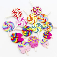1 Pc Kawaii Soft Clay Rainbow Lollipop Cabochons (China)