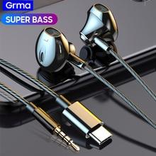 GRMA Heavy Bass Stereo 3.5mm Type c CDLA In-ear Earphone Headset Mic Control Earbuds for Xiaomi Redmi HUAWEI P20 P30 Mate 20 30