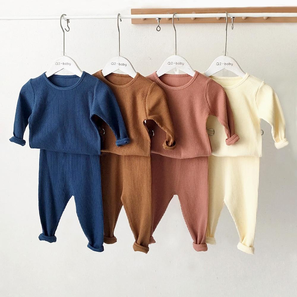 Kids Pajamas Sets For 1-8Y Children Lounge Wear For Boys Girls Full Sleeve Autumn Winter Baby Tops + Pants Girls Boys Sleepwear 1