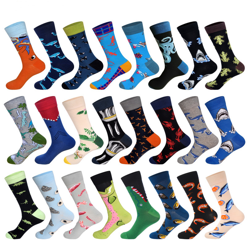 LIONZONE Newly Men Cotton Colorful Octopus Oyster Shrimp Dinosaur Crocodile Dolphin Animals Male Socks