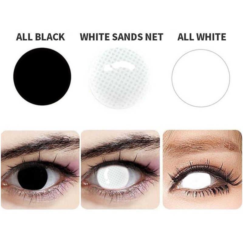 Wszystkie białe kolorowe okładki źrenice ślepe soczewki kontaktowe czysty kolor Halloween Cosplay na makijaż oczu ścieżka 14.5mm