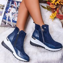 Shoes Wedges Chunky-Sneakers Snow-Boots Winter Women's Platform Zipper Plus-Size Fashion