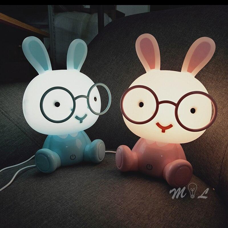 Modern Led Table Lamp Cute Rabbit Table Lamps For Bedroom Home Deco Children's Night Lamp Desk Light 3W Led Lamp Touch Sensor