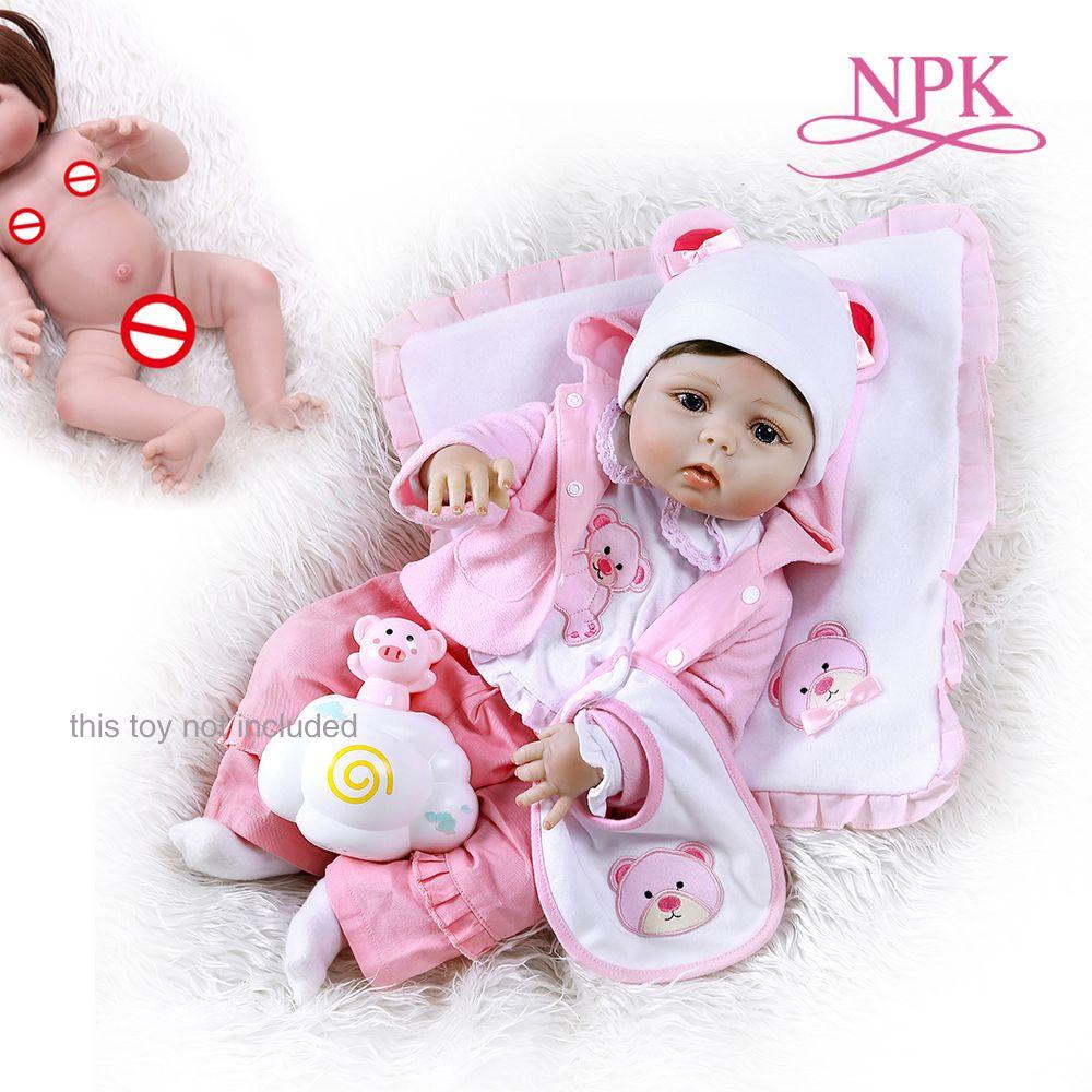 NPK 56CM reborn bambin fille poupée corps entier en silicone souple 0-3M réel bébé taille poupée reborn bain jouet anatomique Correct