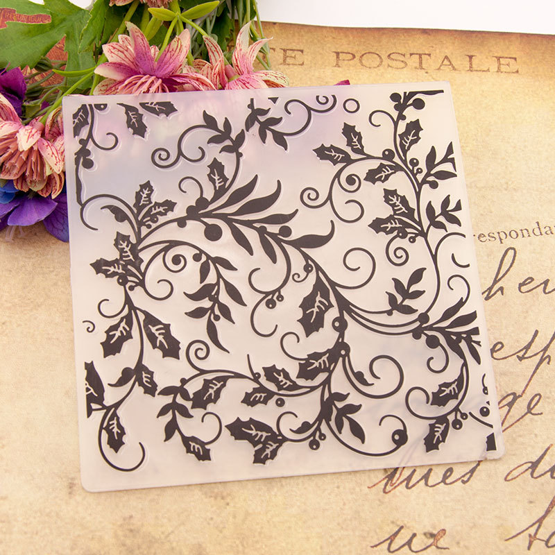Heart Flowers Leaves Plastic Embossing Folders for Card Making Scrapbooking Paper Crafts Template