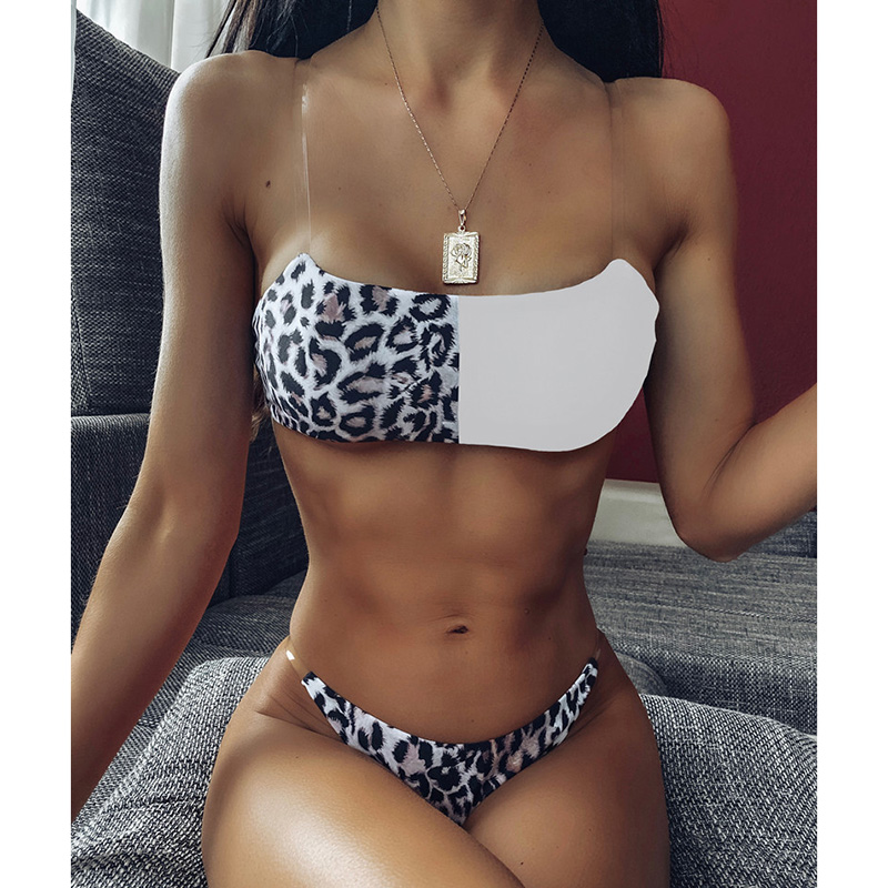 Sexy Leopard Brazilian Bikinis Set Swimsuit Female Thong Bikini 2020 Push Up Swimwear Women Bandeau Patchwork Swim Bathing Suit