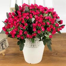 36 голов/1 букет искусственных роз Рождественские декоративные шелковые искусственные цветы цветочный домашний декор для отеля декоративный свадебный букет