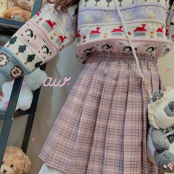 Wiosna kobiet słodkie Harajuku plisowana spódnica w kratę młoda dziewczyna Student wysokiej talii Retro księżniczka krótka spódniczka styl mori Girl w stylu College