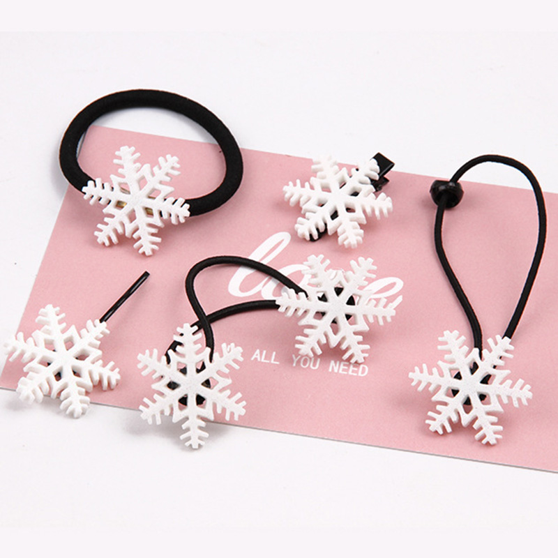 1 Piece Snowflake Baby Girls Christmas Rubber Band Hairpins Combination Hair Clips Kids Hair Band Head Rope Happy Hair Accessory