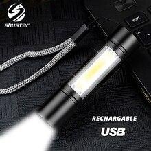 مصباح يدوي USB قابل لإعادة الشحن 3 وضع إضاءة COB + XPE LED مصباح يدوي صغير مقاوم للماء محمول يستخدم للتخييم وركوب الدراجات والعمل ، إلخ