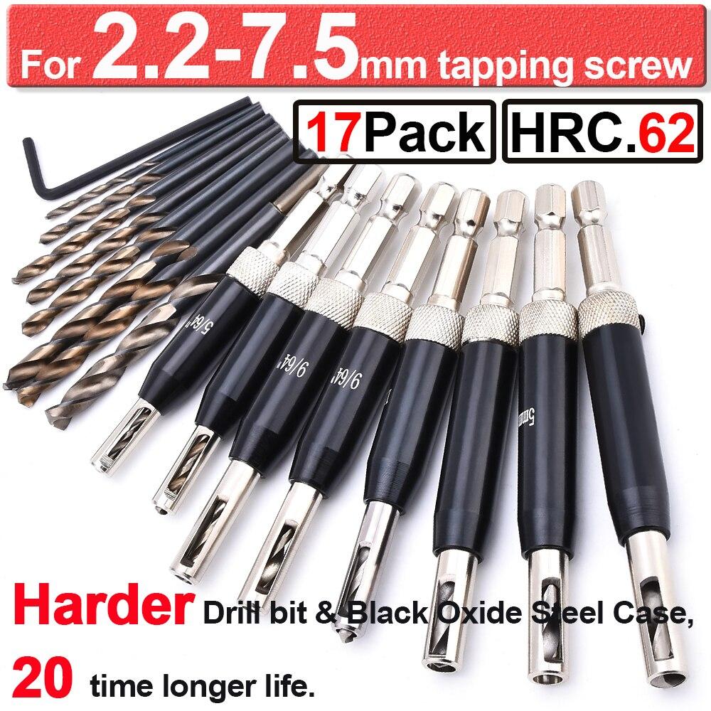 Black Oxide Self Centering Lock Hinge Drill Bit Set Hardware Drawer Pilot Hole Guides For Stainless Steel Drilling Bit Set D30