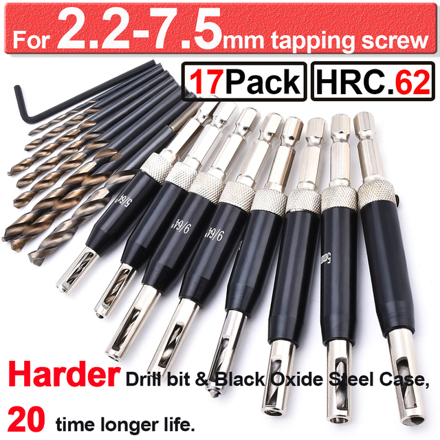 10 Pcs Hinge Drill Bit Set HSS Self Centering Drill Bits for Wood Door Window Cabinet Woodworking Pilot Hole Hinge Hardware Drill Bit