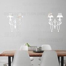2 juegos pegatinas para pared espejo decoración hogar para habitación lámpara de cadena de cristal Palacio Luxrury Retro Vintage candelabro P040