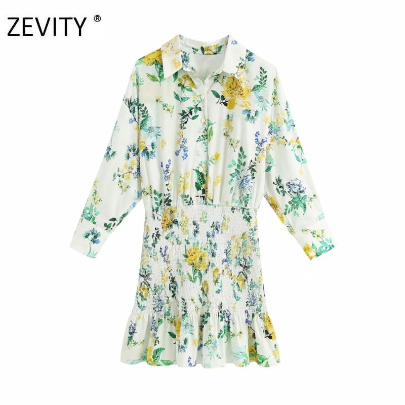 ZEVITY Women fashion flower print patchwork hem elastic ruffles mini Dress lady three quarter sleeve Vestido slim Dresses DS4265