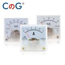 91C4 45*45mm uA amperometro DC analogico 50uA 100uA 200uA 300uA 500uA pannello puntatore amperometro misuratore di corrente