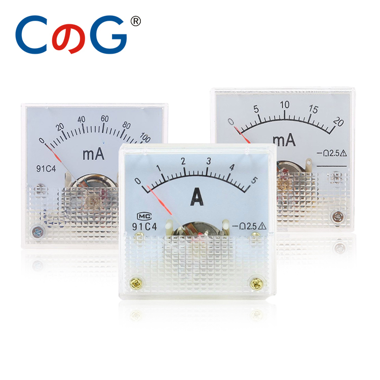 CG 91C4 Ammeter DC Analog Current Meter Panel Mechanical Pointer Type 1 2 3 <font><b>5</b></font> 10 20 30 50 100 200 300 <font><b>500mA</b></font> image