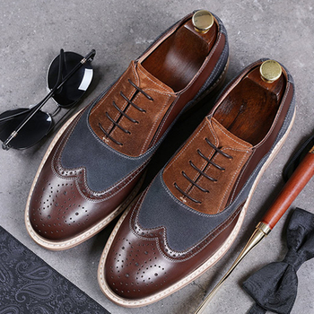 Men Genuine cow leather brogue wedding Business mens casual flats shoes black vintage oxford shoes for men's shoes 2020 men winter boots 100% genuine cow leather brogue shoes casual ankle shoes comfortable quality soft handmade flat shoes black red