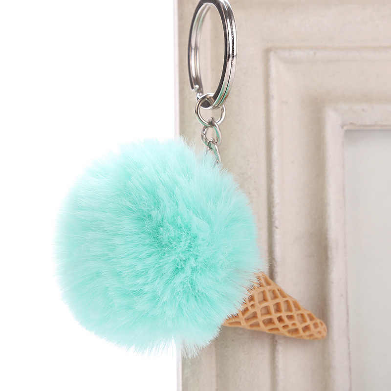 New Cute Ice Cream Keychain 12*10cm Faux Fur Pom Pom Plush Key Chains for Women Car Bag Pendant Keyring Jewelry Kids Gift