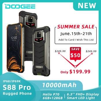 DOOGEE S88 Pro IP68/IP69K teléfono resistente 10000mAh batería de la batería Helio P70 Octa Core 6GB RAM 128GB ROM Android 10 teléfono móvil SmartPhone