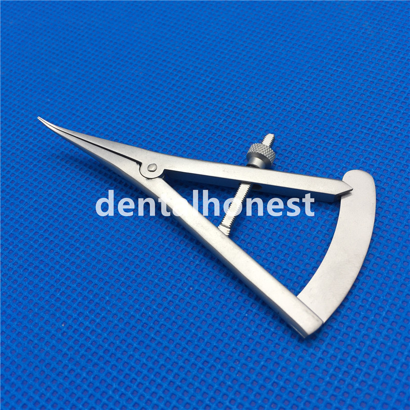 1pcs Curved Tips Castroviejo Bone Calipers Dental Surgical Implant Ophthalmic Orthopedic Stainless Steel