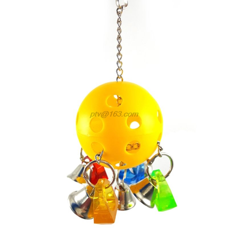 Colorful Bird Parrot Hanging Cage Chewing Bite Toys Climb Bell Swing Playing Toy for African Grey Conure Cockatiel