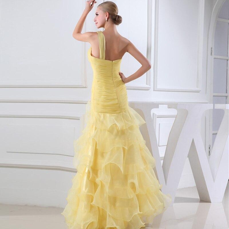 Een Schouder Mouwloze Kant Licht Geel Meisje Prom Dresses 2020 Tiered Lange Wedding - 2