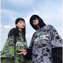 NiceMix Hip Hop Hoodies Women Casual Shark Print Hoodie