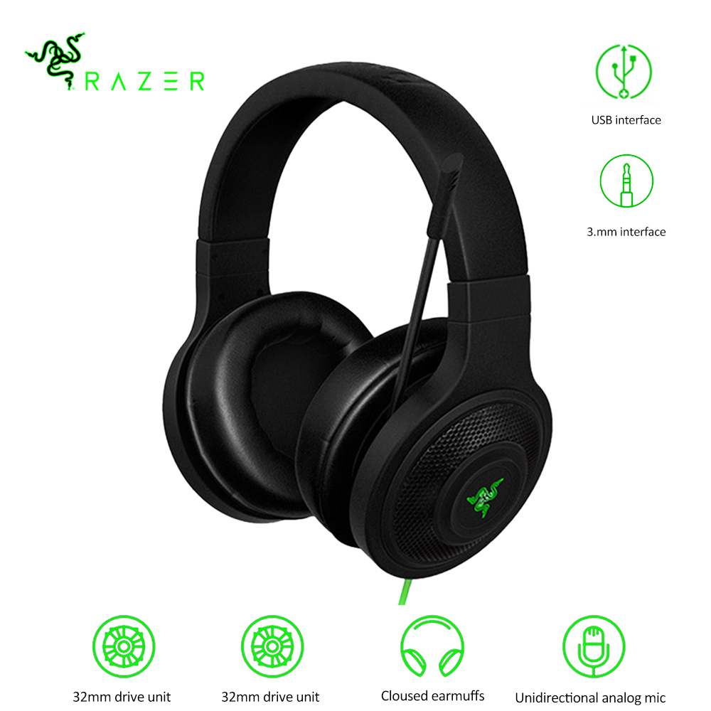 Razer Kraken Essential Standard Headphone Noise Isolating Over-Ear Wired Gaming Headset Analog 3.5mm USB With Mic For LOL Gaming