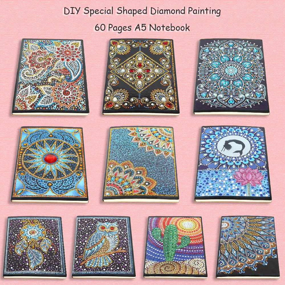 DIY Mandala Special Shaped Diamond Painting Especially Personality Resin Partial Drilling 50 Sheet A5 Notebook Office Supplies