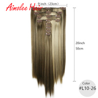 20inch 8pcs/set Blonde Highlight Synthetic Long Straight Hairpiece Clip In Hair Extensions 7 Color 16 Clip High Temperature