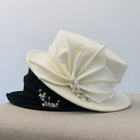 01908 baoliu autumn winter Rhinestone Flower banquet formal dinner Lady jazz cap wool fedoras cap women leisure panama hat