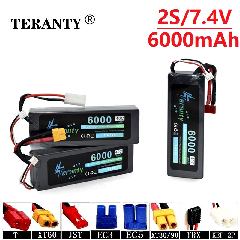 Teranty Power 7.4v <font><b>6000mAh</b></font> 40C Lithium Batterry For RC Cars Boats Drones Spare Parts <font><b>2s</b></font> <font><b>6000mah</b></font> 7.4v <font><b>Lipo</b></font> Battery T/XT60/JST/EC3 image